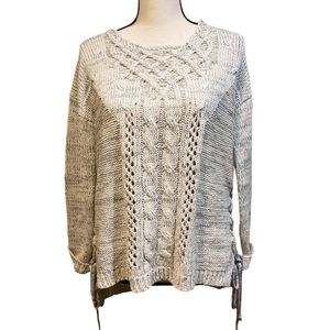 Vintage Havana Gray Twist Lace Up Sweater